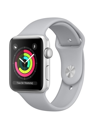 Watch Series 3 GPS 42 mm Gümüş Rengi Alüminyum Kasa Puslu Gri Spor Kordon-Apple